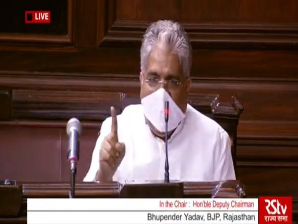 BJP MP Bhupender Yadav in Rajya Sabha on Sunday.