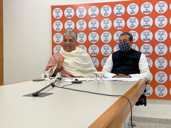 BJP leader Bhupender Yadav (Left) and party's spokesperson Sambit Patra during the webinar.