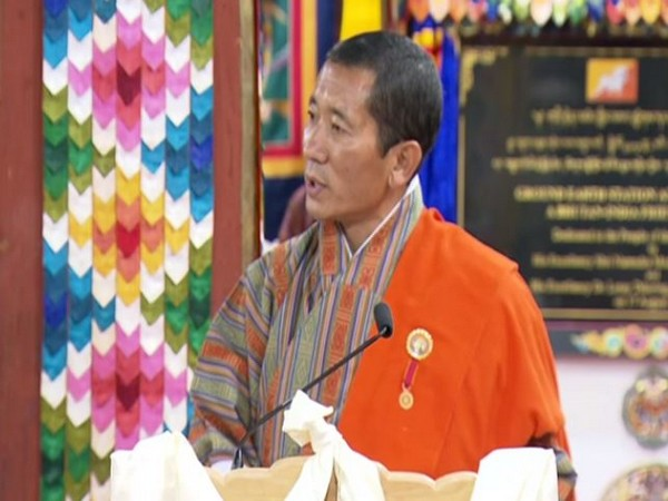 Bhutanese Prime Minister Lotay Tshering speaking during a joint press conference with PM Modi on Saturday
