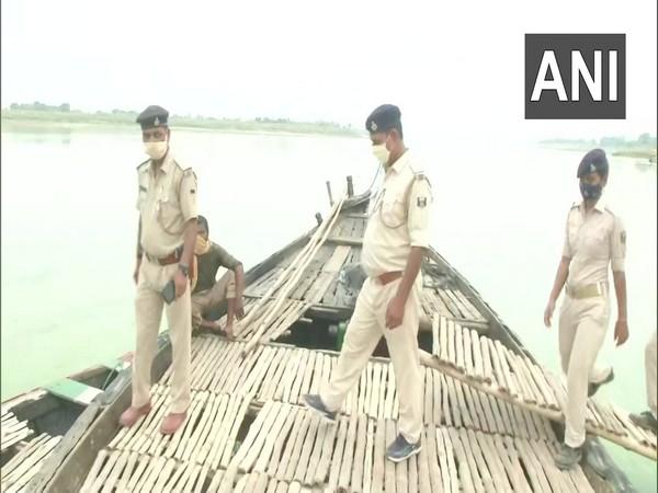 Bihar police patrolling at river bank. (Photo/ ANI)