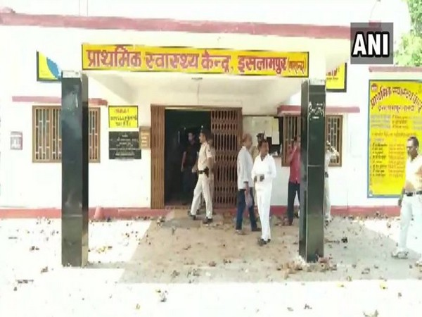 Bihar Police at the vandalised Primary Health Care Centre, Islampur
