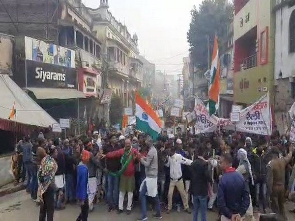 Protests erupts against CAA and NRC in Munger on Saturday. Photo/ANI