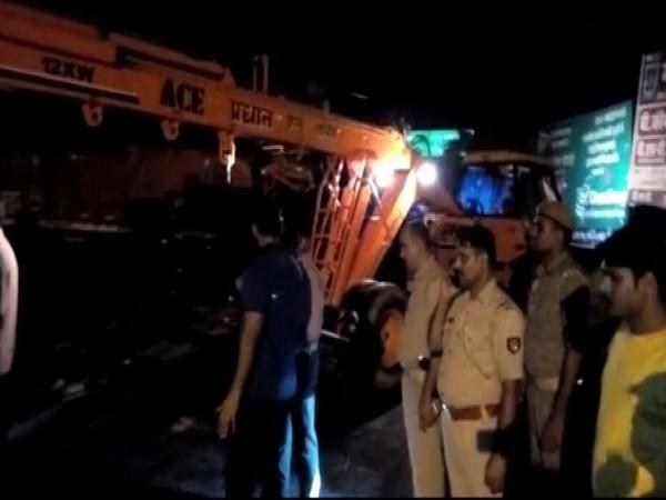 Visuals from accident spot in Bijnor, Uttar Pradesh.