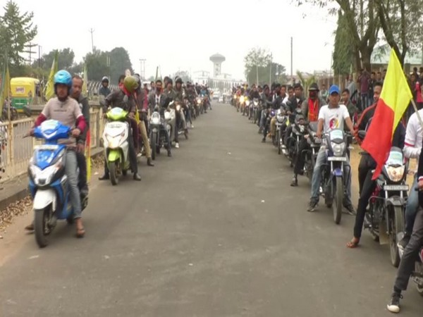 A bike rally was held against CAA in Tripura on Saturday. Photo/ANI
