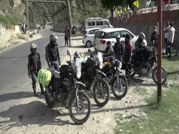 A group of Ladakh bound bikers were denied entry in the Kashmir Valley on Sunday. Photo/ANI