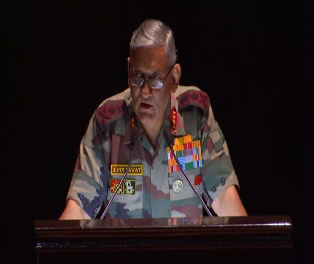 Army Chief Bipin Rawat during his address at KM Cariappa memorial lecture in New Delhi on Friday. Photo/ANI