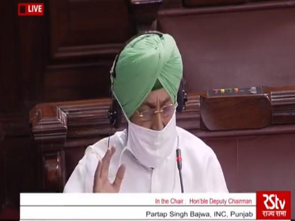 Congress MP Partap Singh Bajwa in Rajya Sabha on Sunday.