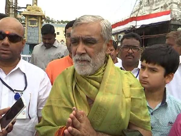 Union minister Ashwani Kumar Choubey speaking to ANI in Chittoor, Andhra Pradesh on Sunday Photo/ANI.