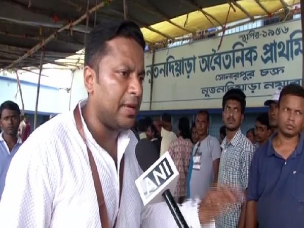 BJP candidate Anupam Hazra speaking to ANI in Jadavpur, West Bengal on Sunday Photo/ANI.