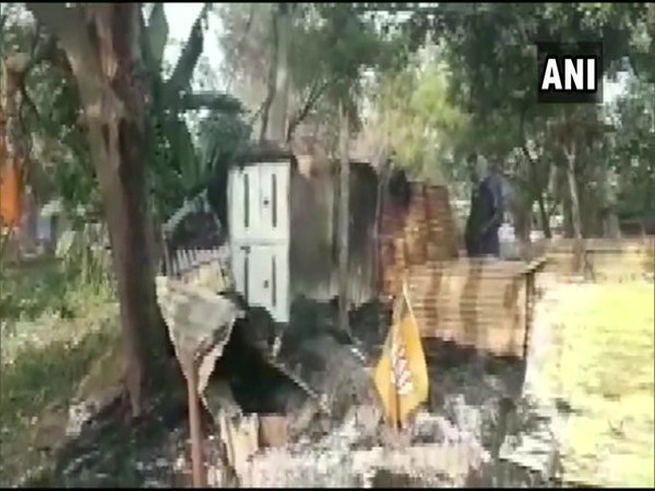 West Bengal: BJP office was set ablaze in Chandai Gram area [Photo/ANI]