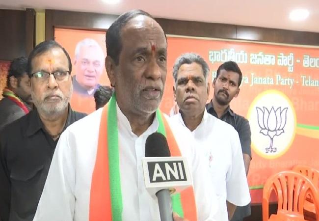Telangana BJP President K Laxman speaking to ANI in Hyderabad on Monday