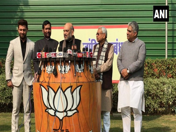 BJP president Amit Shah along with other political leaders addressed media on Lok Sabha seats in Bihar