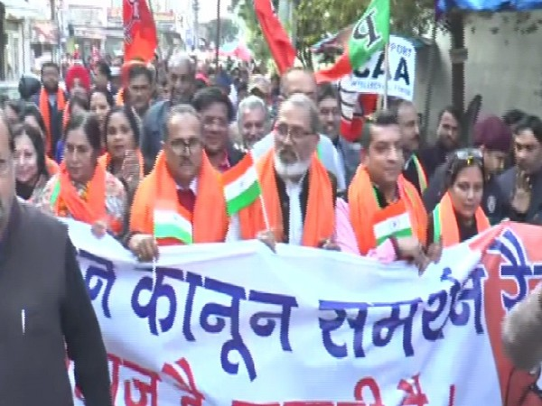 BJP leaders, workers marching in support of the CAA in Ludhiana, Punjab on Tuesday.