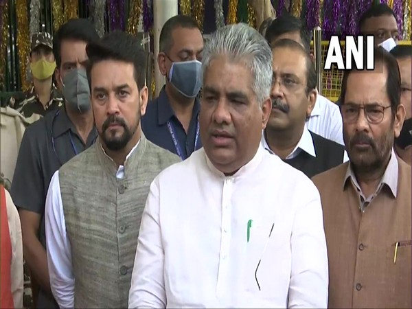 Union Minister Bhupender Yadav after the BJP delegtion met ECI on Tuesday. (Photo/ ANI)