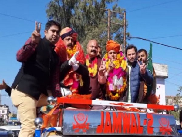 BJP candidates from Kathua celebrating their victory. (Photo/ANI)