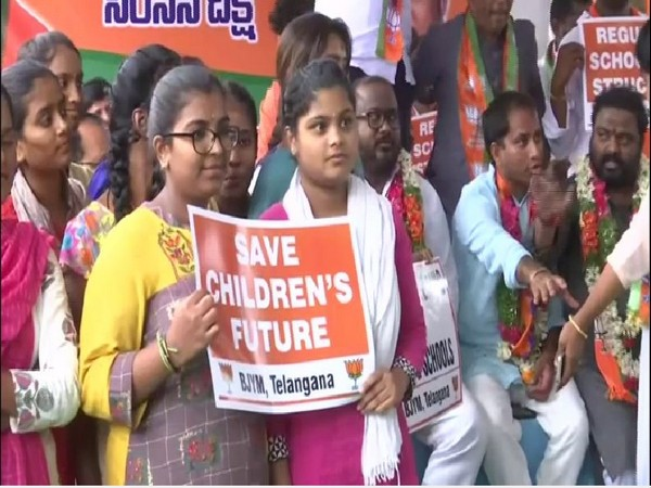 BJYM staging a protest against the oppressive fee structure in private schools on Tuesday (Photo/ANI)