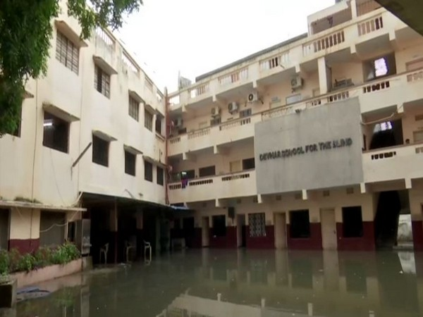 The premises of Devnar School for Blind submerged in rain water in Hyderabad. [Photo/ANI]