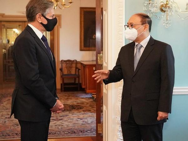 Foreign Secretary Harsh V Shringla with US Secretary of State Antony Blinken.