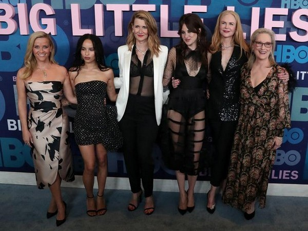 The cast of 'Big Little Lies' -- Reese Witherspoon, Zoe Kravitz, Laura Dern, Shailene Woodley, Nicole Kidman and Meryl Streep (L to R)