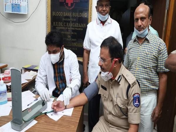 Cyberabad Police Commissioner VC Sajjanar during blood donation drive on Sunday. Photo/ANI