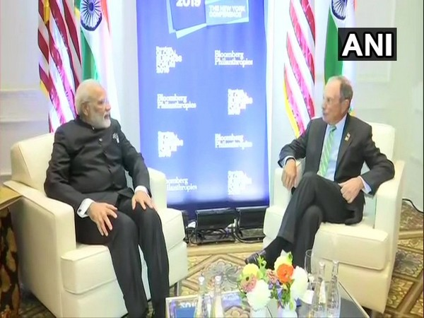 PM Modi meets Michael Bloomberg in New York on Wednesday.