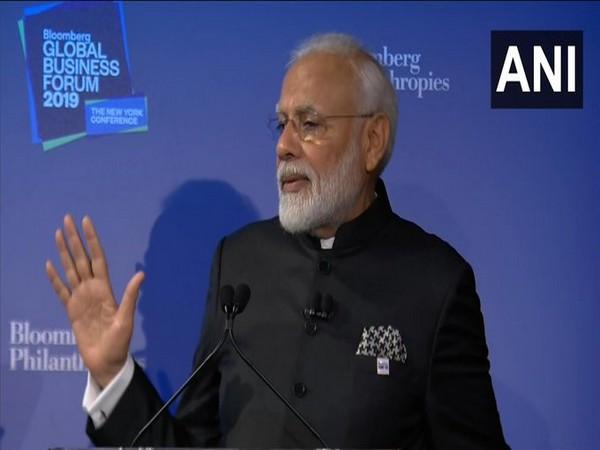 Prime Minister Narendra Modi addressing the Bloomberg Global Business Forum in New York (Photo/ANI)