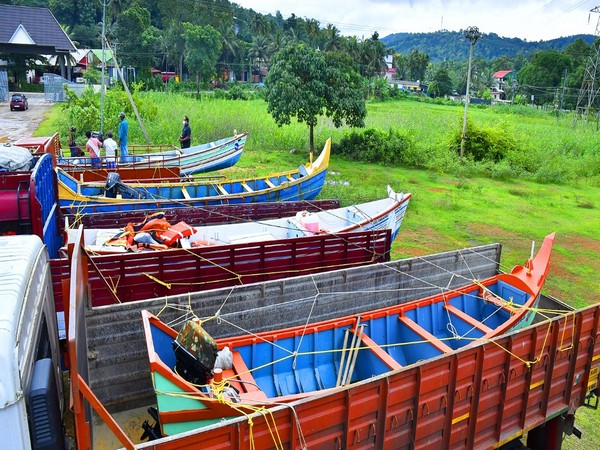 As many as 10 boats were brought to the Pathanamthitta district. (Photo/ANI)