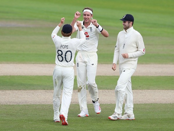 England's Stuart Broad celebrates with the teammates