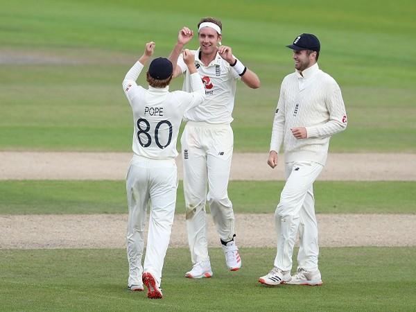 England's Stuart Broad celebrates with the teammates