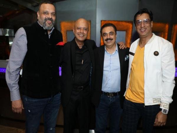 Naved Jafri, Sandeep J Agrawal and Madhur Bhandarkar on launch of 'Merchants of Indian Origin' (MIO) at STAX- Hyatt Regency, Mumbai
