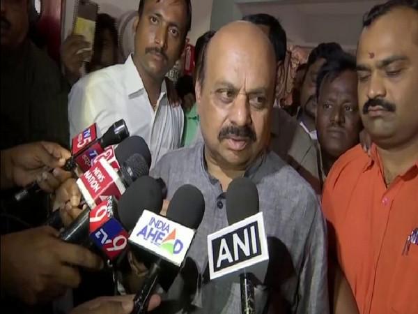 State Home Minister Basavaraj Bommai speaking to ANI in Karnataka on Wednesday. Photo/ANI
