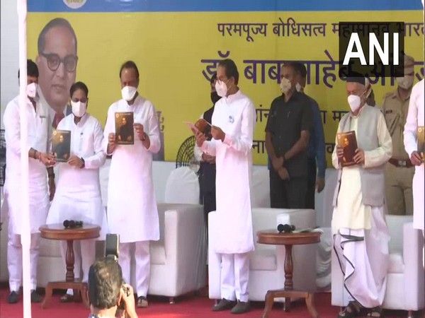 Maharashtra Governor, Chief Minister and other dignitaries releasing a booklet on the life of Ambedkar. [Photo/ANI]