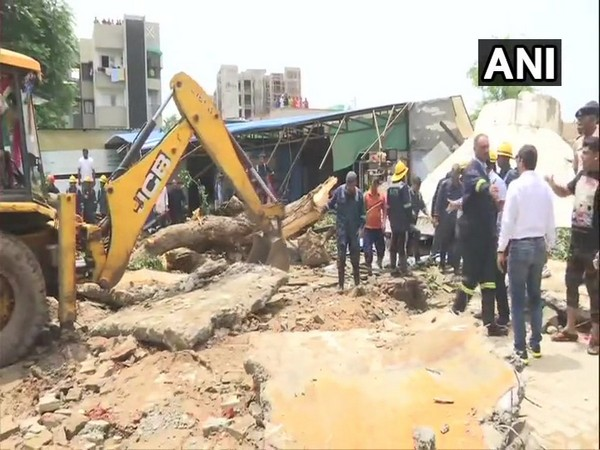 Over two-decade old water tank collapsed in Bopal area on Monday. Photo/ANI