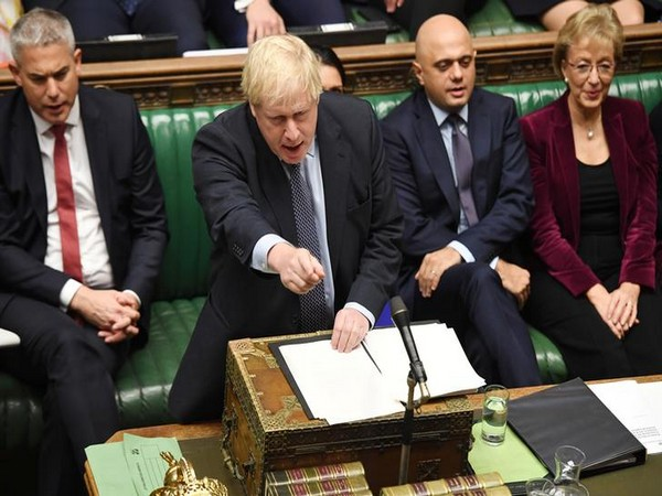 Britain's Prime Minister Boris Johnson speaks during a debate on Brexit, as parliament sits on a Saturday
