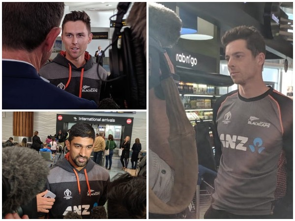 New Zealand's Trent Boult, Ish Sodhi and Mitchell Santner