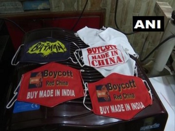 Masks made in Jammu with slogans to boycott Chinese goods. [Photo/ANI]