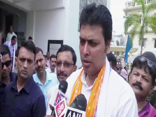 Tripura CM Biplab Deb adrresses the media during the inauguration function