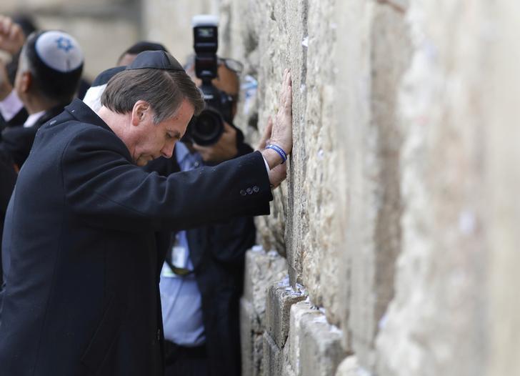 Brazilian President Jair Bolsonaro visits the Western Wall in Jerusalem's Old City on Monday