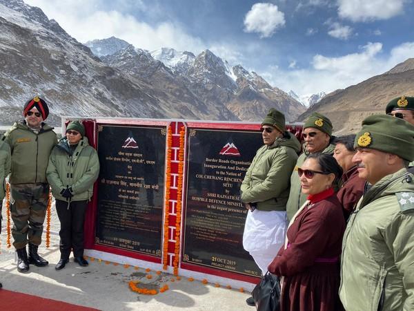 Defence Minister Rajnath Singh inaugurated a bridge in Ladakh on Monday. Photo/Twitter@RajnathSIngh