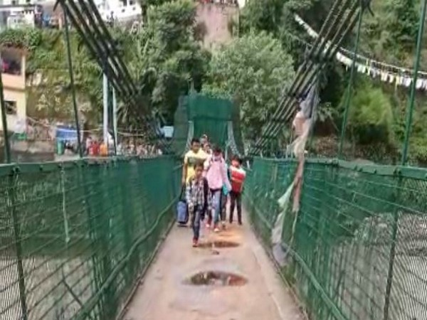 The Pithoragarh administration opened the bridge for 20 minutes on Thursday. (Photo: ANI)