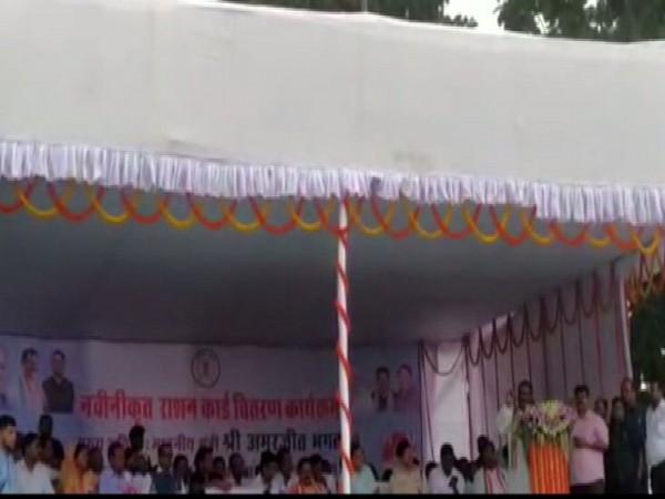 Congress MLA Brihaspat Singh speaking at a programme in Balrampur, Chhattisgarh on Wednesday.