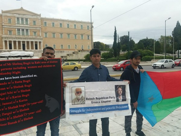 Protests by Baloch Republican Party's (BRP) Greece chapter underway in Athens on May 5