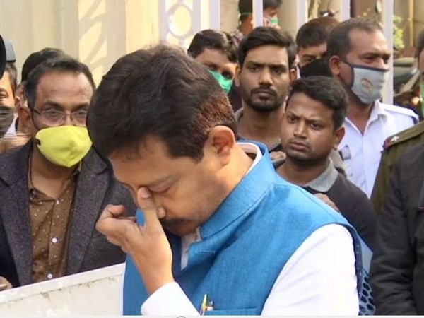 TMC leader Rajib Banerjee breaks down while talking to media on Friday. (Photo/ANI)