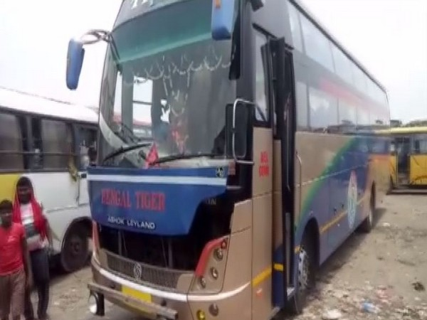 The bus was coming from West Bengal to Bihar when it was attacked in Bardhman district on Saturday. (Photo/ANI)