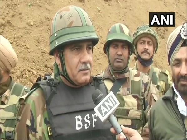 IG BSF NS Jamwal talking to media over a tunnel found at the international border in Hiranagar sector. (Photo/ANI)
