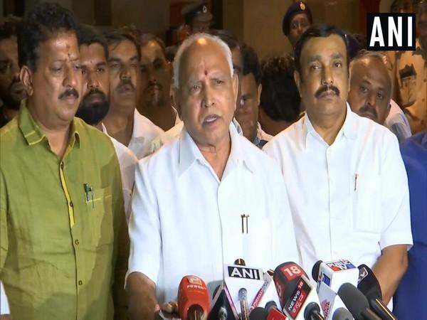 Karnataka Chief Minister BS Yediyurappa addressing media after BJP's Legislative Party meeting in Bengaluru on Sunday. Photo/ANI