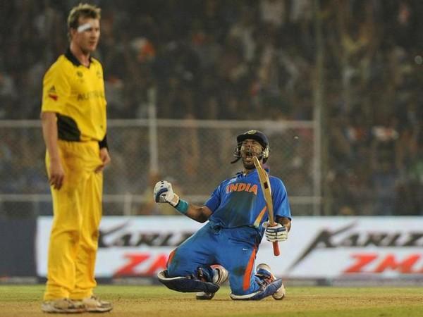 Yuvraj celebrates after India defeats Australia in 2011 WC.