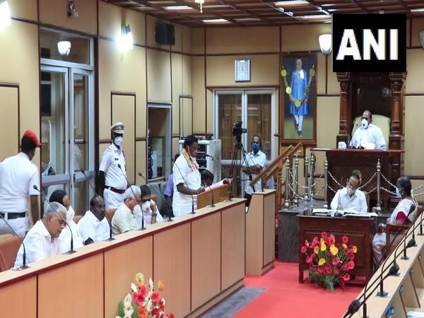 Puducherry Chief Minister V Narayanasamy presenting annual finance budget in Legislative Assembly on Monday. (Photo/ANI)