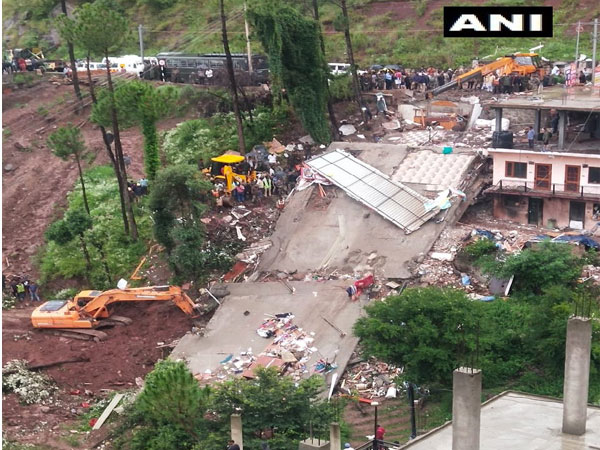 Visulas from the building collapse site in Solan , HP