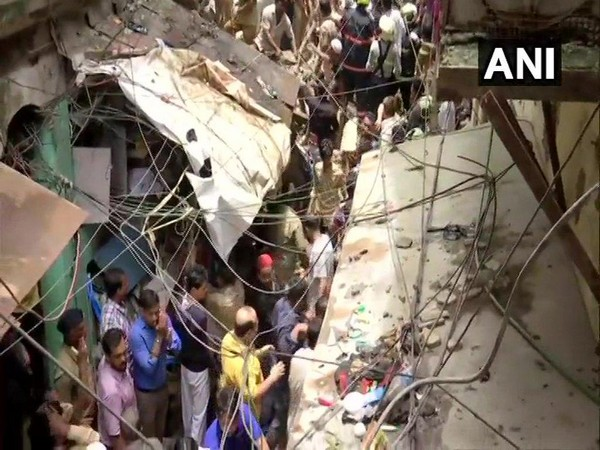 Visuals from building collapse in Mumbai. Photo/ANI